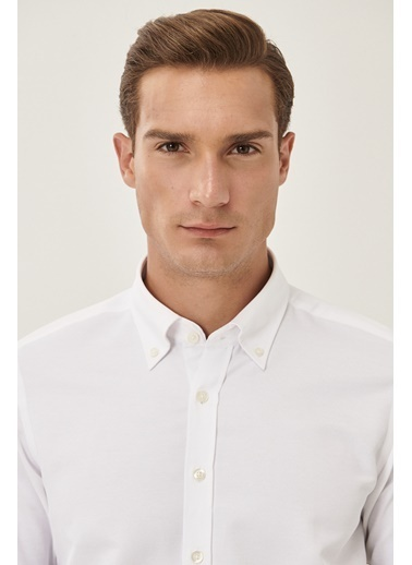 AC&Co / Altınyıldız Classics Tailored Slim Fit Dar Kesim Dik Düğmeli Yaka Armürlü Gömlek 4A2000000064 Beyaz